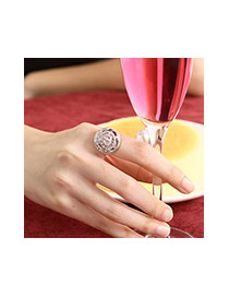 Fashion Silver Color Hollow Out Rose Flower Shape Simple Design Alloy Korean Rings