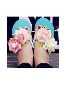 Trendy Blue Flower&pearl Decrated Simple slipsole Beach Shoes