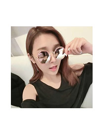 Fashion Blue Geometric Shape Decorated Hollow Out Simple Glasses