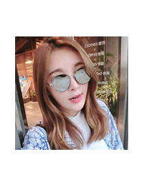 Fashion Pink Round Shape Frame Decorated Simple Sunglasses