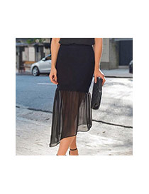 Sexy Black Pure Color Decorated Perspective Irregular Fishtail Skirt