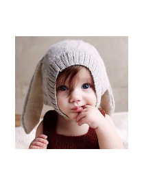 Cute Gray Pure Color Decorated Rabbit Shape Hat