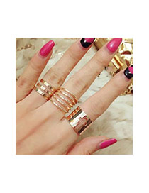 Exaggerated Gold Color Pure Color Decorated Multi-layer Opening Ring (3pcs)
