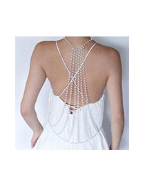 Exaggerated Gold Color Pearl Decorated Multi-layer Symmetric Body Chain