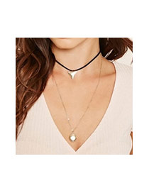 Trendy Gold Color Triangle Shape Pendant Decorated Double Layer Necklace