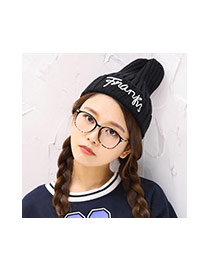 Fashion Black Letter Pattern Decorated Pure Color Design Kintting Hat