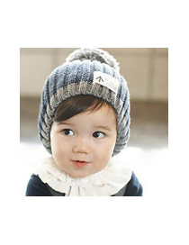 Fashion Black Big Fuzzy Ball Decorated Baby Knitted Hat