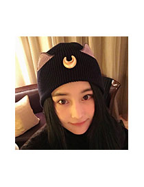 Lovely Black Crescent Moon&ears Decorated Knitted Hat