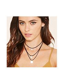 Vintage Black Metal Round Shape Pendant Decorated Multilayer Necklace