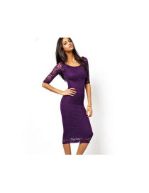 Sexy Purple Pure Color Design Three Quaters Sleeve Package Hip Skirt