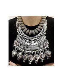 Exaggerated Multi-color Hollow Out Geometric Shape Decorated Short Chain Necklace