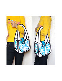 Cute Blue Cartoon 3d Geometric Pattern Decorated Simple Handbag