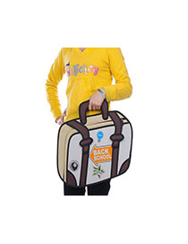 Cute Brown Cartoon 3d Letter Pattern Decorated Simple Backpack