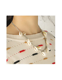 Fashion Silver Color Shells Decorated Short Chian Simple Necklace
