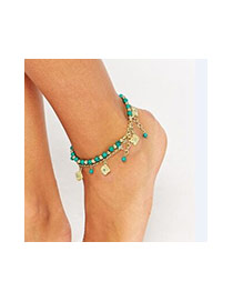 Fashion Blue Beads&hollow Out Flower Decorated Double Layer Anklet