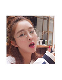 Fashion Silver Color Irregular Frame Decorated Thin Leg Simple Glasses