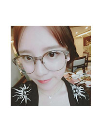 Fashion Gray Color Matching Design Round Frame Simple Glasses