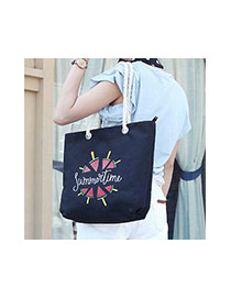 Fashion Black Watermelon Pattern Decorated Square Shape Canvas Bag