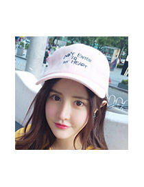 Trendy Pink Letter Decorated Simple Design Pure Color Baseketball Hat