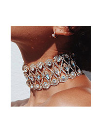 Vintage Gold Color Geomestric Shape Diamond Decorated Hollow Out Choker