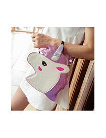 Fashion Blue Unicorn Shape Design Color Matching Shoulder Bag