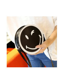 Sweet Black Smiling Face Decorated Round Shape Simple Bag