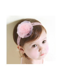 Sweet Pink Flower Shape Decorated Pure Color Baby Hair Hoop