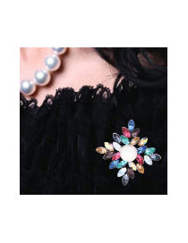 Fashion Multi-color Pearls&diamond Decorated Hollow Out Color Matching Brooch
