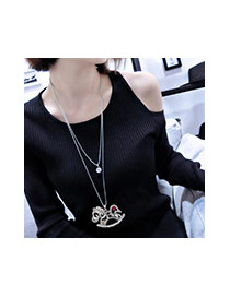 Fashion Multi-color Pony Pendant Decorated Simple Double Layer Necklace