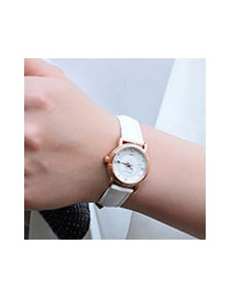 Elegant Black Diamond Decorated Pure Color Strap Design Lady Watch