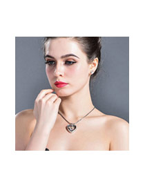 Fashion Rose Gold+white Fish&heart Shape Pendant Decorated Hollow Out Design Necklace