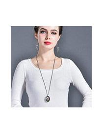 Fashion Multi-color Sun&oval Shape Pendant Decorated Simple Necklace