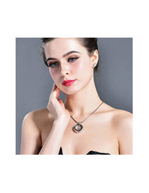 Fashion Rose Gold+white Crown&round Shape Pendant Decorated Simple Necklace