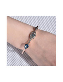 Fashion Champagne+blue Eye Shape Decorated Color Matching Simple Bracelet