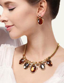 Elegant Brown Oval Shape Gemstone Decorated Simple Jewelry Sets