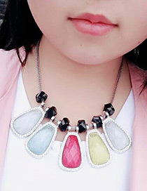 Fashion Multi-color Geometry Shape Decorated Multi-color Simple Design Necklace