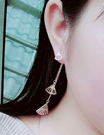 Elegant Rose Gold Fan Shape Decorated Simple Pure Color Earrings