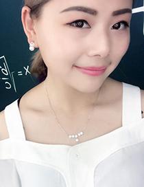 Fashion Silver Color Flower Shape Pendant Decorated Necklace