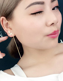 Elagant Gold Color Round Shape Diamond Decorated Asymmetry Earrings