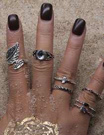 Fashion Antique Silver Leaf&flower Shape Decorated Ring (7pcs)