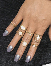Fashion Gold Color Pure Color Design Hollow Out Ring(7ps)