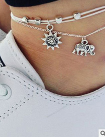 Fashion Gold Color Digital Diamond Ball Chain Alloy Multilayer Anklet