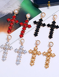 Fashion White Cross Earrings With Gems And Pearls