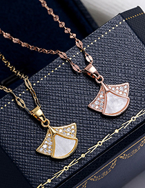 Fashion Rose Gold Copper Micro Inlaid Zircon Angel Necklace
