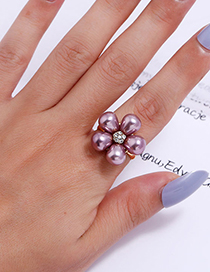 Fashion Purple Alloy Ring With Flower Pearl And Diamond