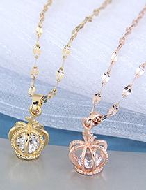 Fashion Gold Color Color Crown Diamond Alloy Hollow Necklace