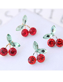 Fashion Gold Color Color Diamond-studded Cherry Alloy Earrings