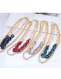 Fashion Black Acrylic Chain Alloy Double Necklace