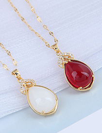 Fashion Red Inlaid Jade Drop-shaped Alloy Necklace