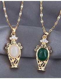 Fashion Dark Green Vase With Diamond And Gemstone Cutout Necklace
